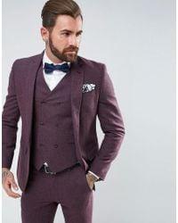 ASOS - Wedding Skinny Suit Jacket In Berry Wool Mix - Lyst