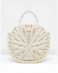 Vincent Pradier - Structured Handle Straw Beach Bag - Lyst