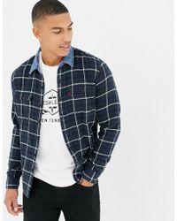 Levi's - Levi's X Justin Timberlake Denim Collar Check Flannel Shirt In Navy - Lyst