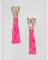ASOS - Design Jewel Triangle And Metallic Tassel Earrings - Lyst
