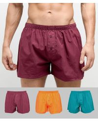 ASOS DESIGN - Woven Boxers In Retro Colours 3 Pack Save - Lyst