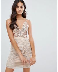Girls On Film - Strappy Bodycon Dress With Sequin Detail - Lyst