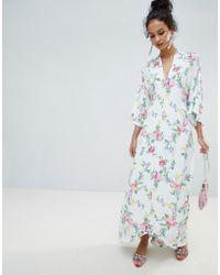 Miss Selfridge - Kimono Sleeve Floral Tie Back Maxi Dress - Lyst