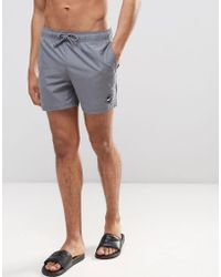 Hollister - Guard Swim Shorts Solid Seagull Logo In Gray - Lyst