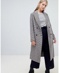 Helene Berman - Double Breasted Hounstooth Check Coat In Wool Blend - Lyst
