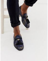 ASOS Mocasines con bordado de pavo real y borlas extragrandes - Azul