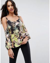 ASOS - Top In Pretty Historical Print With Long Sleeve - Lyst