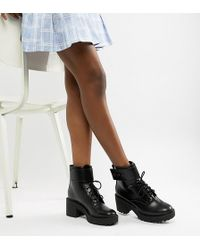 Bershka - Lace Up Heeled Boot - Lyst