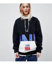 Converse - Exclusive One Star Boyfriend Fit Hoodie In Black With Logo - Lyst