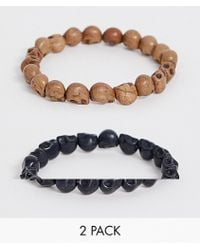 Reclaimed (vintage) - Inspired Beaded Bracelet 2 Pack With Semi Precious Skulls Exclusive To Asos - Lyst