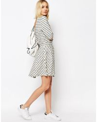 ADPT - Stripe Skater Skirt Co Ord - Egret - Lyst