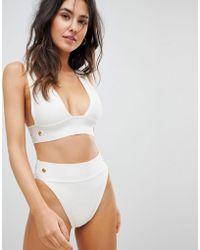 ASOS - Gold Stud Detail Bandage High Leg High Waist Bikini Bottom - Lyst