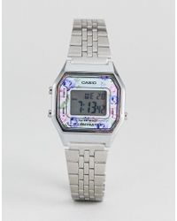 G-Shock - La680wea-2cef Floral Digital Bracelet Watch In Silver - Lyst