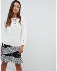 Girl In Mind - Lace Up Sweater - Lyst