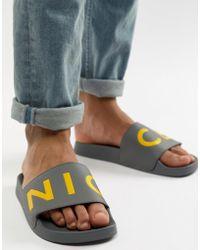 Nicce London - Nicce Logo Sliders In Grey - Lyst