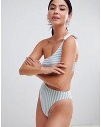 Pull&Bear - Stripe One Shoulder Swimsuit - Lyst