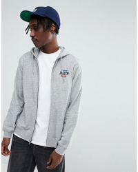 Brixton - Garth Zip Through Hoodie With Logo - Lyst