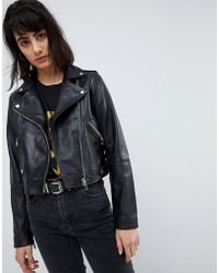 ASOS - Washed Leather Biker Jacket - Lyst