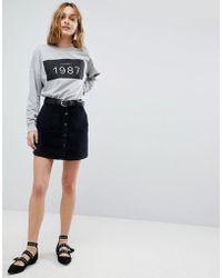 Vero Moda - Button Through Velvet Skirt - Lyst
