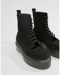 Office - Atomize Chunky Black Suede Leather Flat Ankle Boot - Lyst
