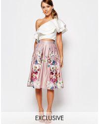 True Violet - Sateen Midi Skirt In Floral Print - Lyst