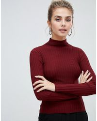 Bershka - Vertical Ribbed Funnel Neck Jumper - Lyst