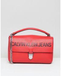 Calvin Klein - Jeans Satchel Bag With Chain Detail - Lyst