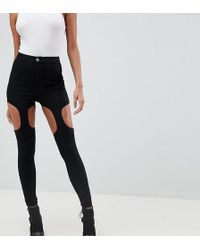 ASOS - Rivington Festival High Waisted jeggings With Suspender Detail In Clean Black - Lyst