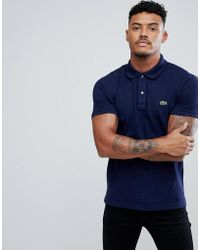 Lacoste - Slim Fit Logo Polo Shirt In Navy - Lyst