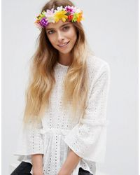 ASOS - Festival Rainbow Flower Headband - Lyst