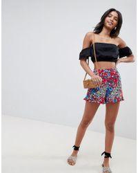 ASOS - Frill Hem Shorts In Mixed Animal & Floral Print - Lyst