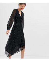 Warehouse - Hanky Hem Glitter Midi Dress With Twist Front In Black - Lyst