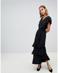 Vero Moda - Ruffle Sleeve Asymmetric Maxi Dress - Lyst