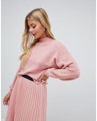 Miss Selfridge - Balloon Sleeve Jumper In Pink - Lyst