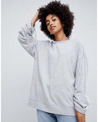 Dr. Denim - Sweatshirt With Ruched Sleeve - Lyst
