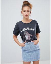 Pull&Bear - Tasmanian Devil Tshirt In Black - Lyst