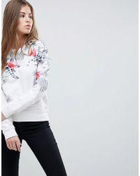 Replay - Floral Print Crew Neck Sweatshirt - Lyst