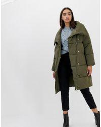 Miss Selfridge - Longline Padded Coat In Khaki - Lyst
