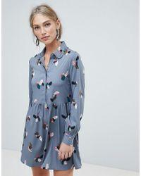 Vero Moda - Ruffle Trim Shirt Dress - Lyst