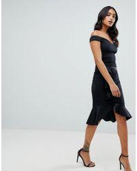 Lipsy - Robe portefeuille style Bardot avec ourlet asymétrique - Noir - Lyst