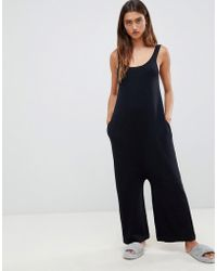 ASOS - Premium Lounge Knitted Drop Crotch Jumpsuit - Lyst