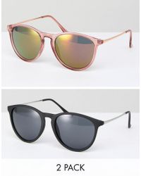 ASOS - 2 Pack Skinny Keyhole Retro Round Sunglasses In Pink And Black - Lyst