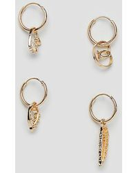 ASOS DESIGN - Hoop Earring Pack With Mixed Charms In Gold Tone - Lyst
