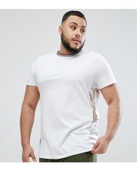 ASOS - Plus Relaxed Longline T-shirt With Metallic Side Panels In White - Lyst