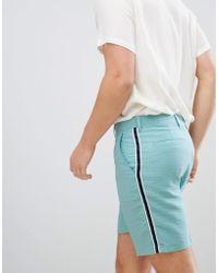 ASOS - Shorter Length Smart Shorts In Green Linen Look With Side Stripe - Lyst