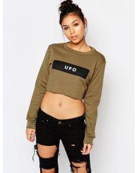 Adolescent Clothing | Crop Sweatshirt With Ufo Print | Lyst