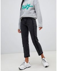 Mango - Straight Jean With Freyed Detailing - Lyst