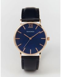 Sekonda - Rose Gold Detail Navy Leather Strap Watch Exclusive To Asos - Lyst