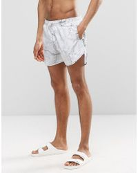 Cheats & Thieves - Mid Length Swim Shorts In Concrete Digital Print - Lyst