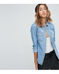 ASOS - Denim Fitted Shirt In Midwash Blue - Lyst